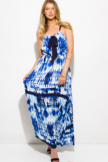 $15 - Cute cheap ethnic print chiffon semi sheer double breasted trench coat dress - royal blue tie dye print boho maxi sun dress