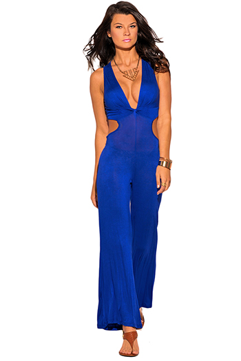 $10 - Cute cheap mesh open back fitted sexy party jumpsuit - royal blue twist front cut out back wide leg party jumpsuit