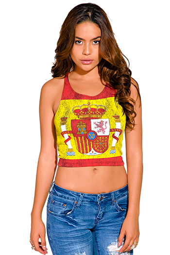 $7 - Cute cheap print sheer tank top - spanish flag royal crest graphic print crop tank top