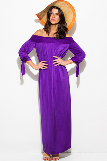 $11 - Cute cheap satin pocketed evening jumpsuit - royal purple red sash smocked off shoulder long sleeve boho evening maxi dress