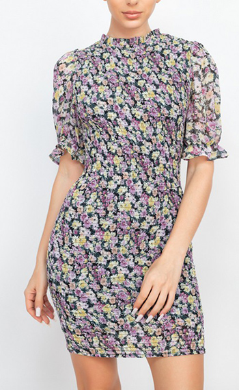 $25.50 - Cute cheap shirring strapless rayon spandex knit mini dress - ruched floral mock neck dress
