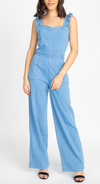 $22.25 - Cute cheap denim romper - ruffle trim denim romper jumpsuit