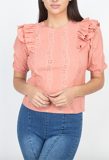 $11.50 - Cute cheap ruffle trim eyelet designed top