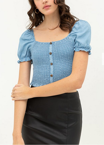 $12.50 - Cute cheap square necksolid puff top - RUFFLED BUTTON TENCEL CROP TOP