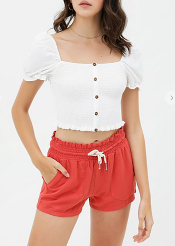 $12.50 - Cute cheap square necksolid puff top - ruffled button tencil crop top