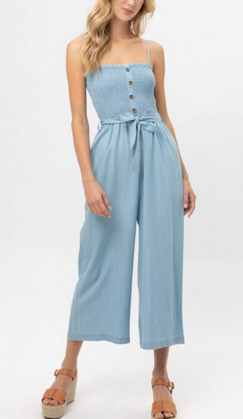 $23.50 - Cute cheap ruffled waist tie jumpsuit