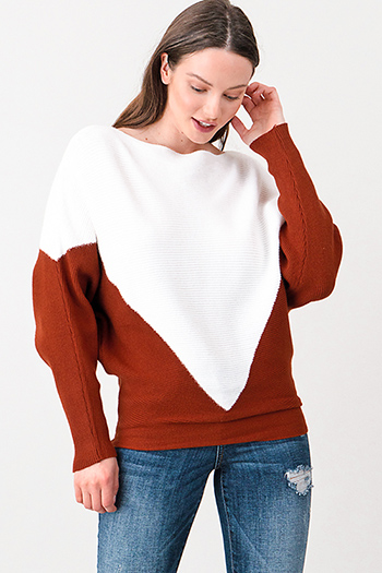 $15 - Cute cheap white houndstooth textured cut out twist knot cold shoulder long sleeve boho blouse top - Rust brown and white ribbed boat neck color block long dolman sleeve sweater top