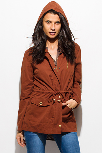 $30 - Cute cheap cotton bodycon bodysuit - rust brown cotton utility cargo hooded pocketed anorak trench coat jacket