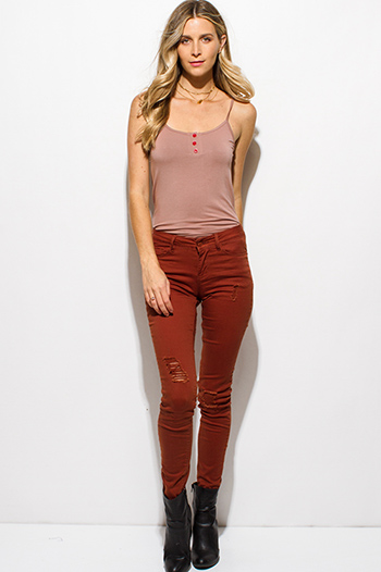 $20 - Cute cheap dark blue washed denim mid rise fitted skinny ankle jeans - rust brown denim mid rise distressed ripped knee skinny jeans