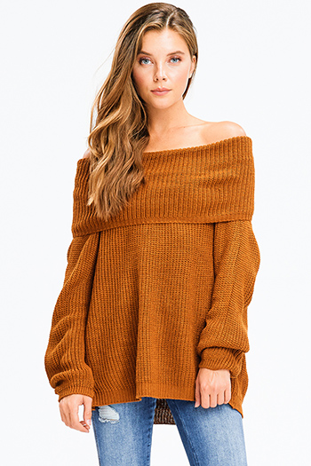 $25 - Cute cheap light heather gray off shoulder zipper neckline long sleeve drawstring pocketed lounge romper jumpsuit - rust brown knit long bubble sleeve cowl neck off shoulder boho sweater top