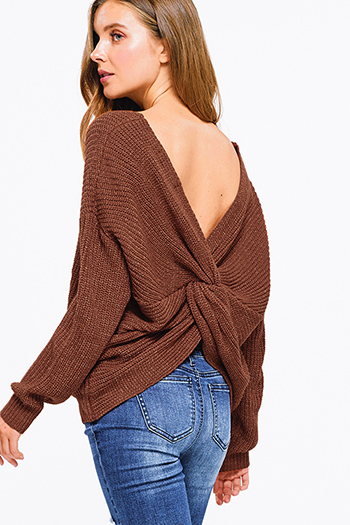 $30 - Cute cheap v neck slit jumpsuit - Brown knit long sleeve v neck twist knotted back boho sweater top