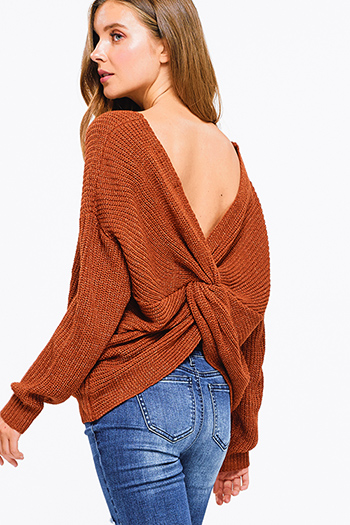 $25 - Cute cheap khaki brown faux suede fringe trim asymmetric hem boho cape shawl top - Rust brown knit long sleeve v neck twist knotted back boho sweater top