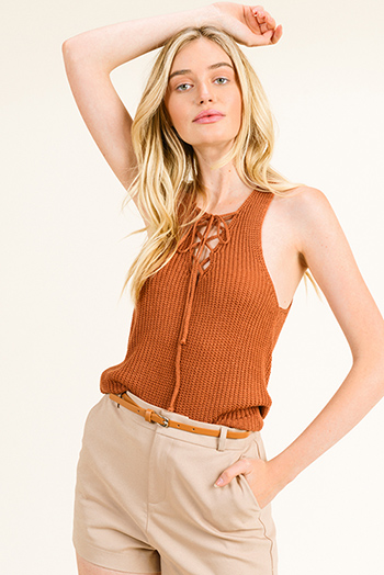 $12 - Cute cheap mocha brown drawstring tie front backless pocketed crop capri cargo overalls - Rust brown knit sleeveless laceup front racer back boho sweater tank top