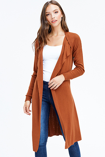 $25 - Cute cheap print bell sleeve cardigan - rust brown long sleeve open front belted draped duster waterfall knit cardigan top