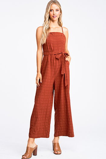 $20 - Cute cheap mustard yellow ruffle tiered apron front button trim wide leg boho culotte jumpsuit - Rust brown textured cotton sleeveless tie waist pocketed boho wide leg jumpsuit