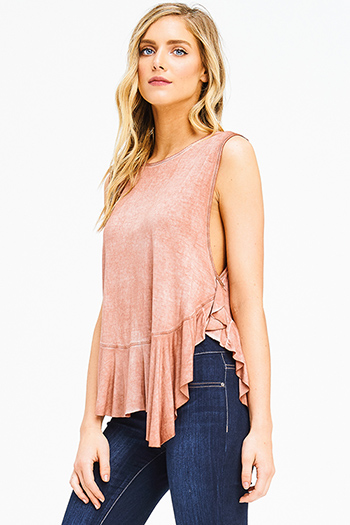 $15 - Cute cheap pink multicolor stripe tie spaghetti strap boho peplum tank top - rust brown acid washed ruffle hem sleeveless boho tank top