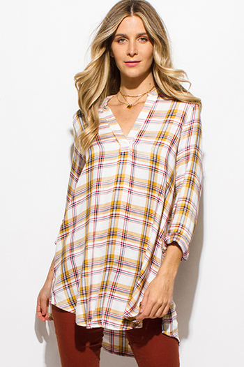 $15 - Cute cheap brown animal zebra print long dolman sleeve boat neck knit top - rust brown yellow multicolor plaid print indian collar long sleeve blouse top