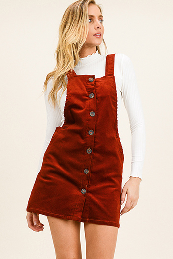 $25 - Cute cheap long sleeve midi dress - Rust burnt orange corduroy button up pocketed boho retro overall pinafore mini dress