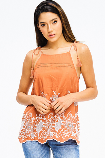 $15 - Cute cheap blue stripe embroidered quarter sleeve button up boho blouse pinstripe top - rust burnt orange eyelet embroidered scallop hem tassel tie boho sexy party tank top