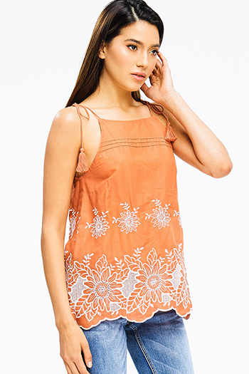 $15 - Cute cheap open back fitted sexy party catsuit - rust burnt orange eyelet embroidered scallop hem tassel tie boho party tank top