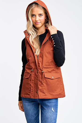 $25 - Cute cheap white asymmetrical hem quarter sleeve zip up fitted blazer jacket top - Rust burnt orange faux fur fleece lined zip up hooded anorak trench vest jacket