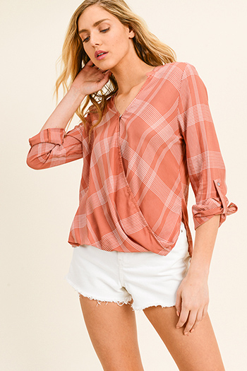 $20 - Cute cheap light peach long sleeve indian collar button up boho gauzey tunic blouse top - Rust checker grid plaid print long sleeve v neck surplice bubble hem boho blouse top