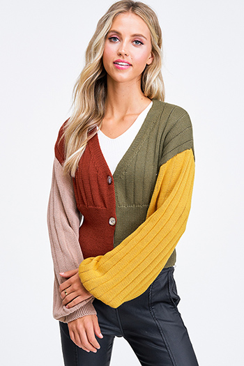 $25 - Cute cheap olive green sherpa fleece lined zip up pocketed vest jacket top - Rust color block ribbed long balloon sleeve button up boho cropped sweater top