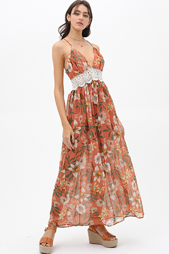 $40 - Cute cheap v neck cocktail dress - Rust floral print crochet lace trim halter cut out back boho maxi sun dress