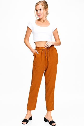 $18 - Cute cheap blue washed denim high rise waisted distressedpin hem detail skinny jeans - Rust linen elastic tie waist high rise pocketed boho lounge harem pants