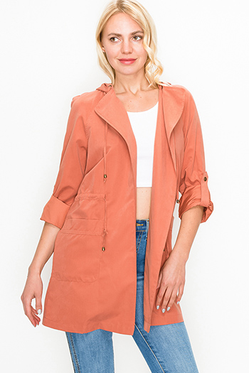 $25 - Cute cheap rust tan cut out ruffle sleeve round neck boho top - Rust long sleeve drawstring waist open front hooded trench coat jacket top