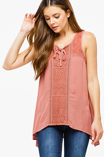$15 - Cute cheap lace sheer top - Rust mauve pink sleeveless keyhole tie front lace trim boho sexy party tank top
