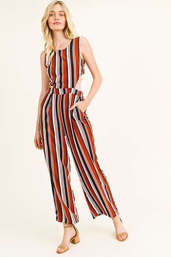 $25 - Cute cheap navy blue tropical print high waisted resort boho wide leg pants - Rust multicolor striped sleeveless cut out tie back pocketed wide leg jumpsuit