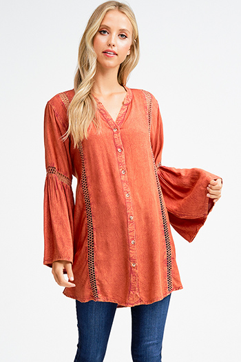 $20 - Cute cheap yellow black floral print sheer mesh off shoulder long trumpet bell sleeve crop top - Rust orange acid washed long bell sleeve crochet trim button up boho tunic mini shirt dress