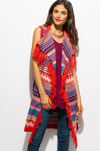 $20 - Cute cheap blue sheer sexy party top - rust orange blue multicolor woven sleeveless ethnic sweater knit fringed boho duster cardigan vest top