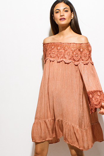 $15 - Cute cheap draped bejeweled dress - rust orange crochet lace off shoulder quarter sleeve tiered boho swing midi dress