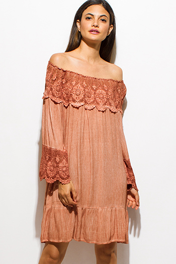 $20 - Cute cheap print chiffon sheer boho dress - rust orange crochet lace off shoulder quarter sleeve tiered boho swing midi dress