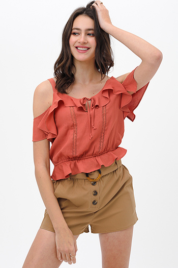 $19.5 - Cute cheap mustard yellow floral print v neck ruffle butterfly sleeve tie back boho blouse top - Rust orange crochet lace ruffle trim cold shoulder boho cropped blouse top