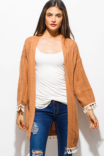 $15 - Cute cheap black crochet trim cotton gauze resort wide leg pants - rust orange crochet lace tassel fringe trim open front boho sweater knit cardigan