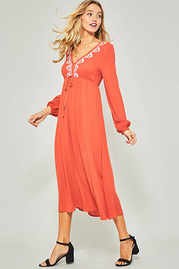 $20 - Cute cheap blue washed denim cuffed short sleeve button up pocketed mini shirt dress - Rust orange embroidered v neck long sleeve waist tie boho evening maxi dress
