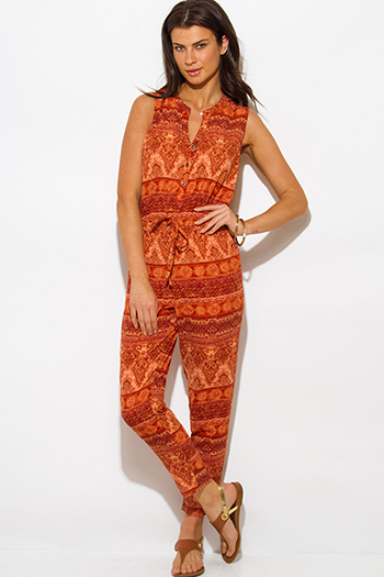 $10 - Cute cheap boho fringe jumpsuit - rust orange ethnic print boho harem jumpsuit