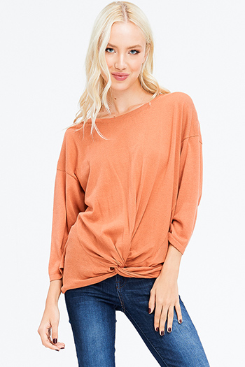 $15 - Cute cheap stone gray fuzzy knit quarter tiered bell sleeve round neck boho top - rust orange front twist quarter length dolman sleeve boho knit top