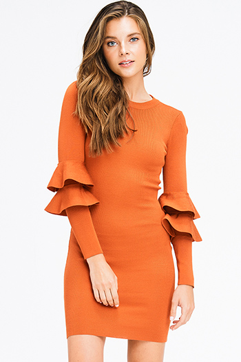 $25 - Cute cheap floral cold shoulder dress - rust orange knit long ruffle tiered sleeve bodycon fitted cocktail party sexy club mini dress