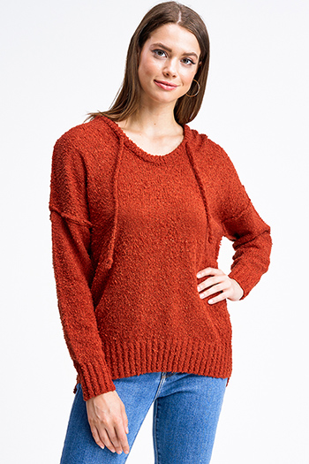 $24 - Cute cheap beige boho fringe top - Rust orange long sleeve hooded oversized boho textured slub sweater top