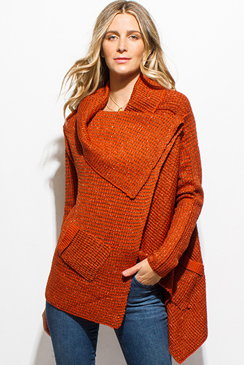 $15 - Cute cheap burgundy red stripe sweater knit high low hem boat neck dolman sleeve poncho tunic top - rust orange metallic lurex sweater knit drape asymmetrical hem long sleeve cardigan