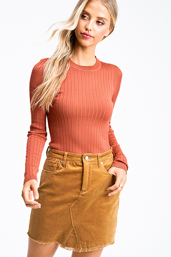 $20 - Cute cheap brown cheetah animal print square neck cap sleeve tie front boho resort crop blouse top - Rust orange ribbed knit round neck long sleeve fitted sweater top