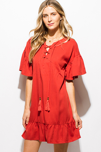 $15 - Cute cheap cotton boho sun dress - rust orange ruffle butterfly sleeve tassel laceup front boho peasant shift mini dress