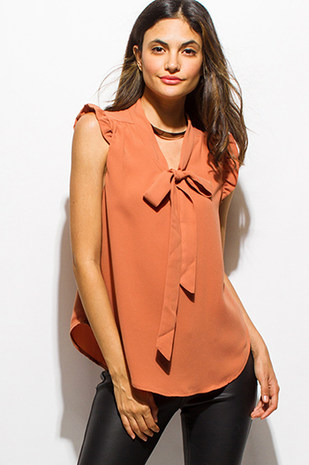 $15 - Cute cheap ruffle sexy party blouse - rust orange ruffle bow tie sleeveless blouse top
