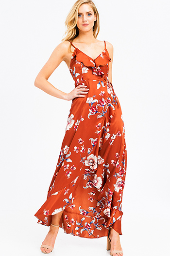 $30 - Cute cheap open back wrap jumpsuit - Rust orange satin floral print sleeveless ruffle trim boho wrap evening sexy party maxi sun dress