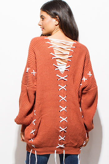 $20 - Cute cheap rust orange v neck long sleeve laceup crochet oversized sweater knit tunic top