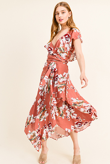 $20 - Cute cheap light pink satin floral off shoulder ruffle tiered boho mini sun dress - Rust pink floral print off shoulder ruffled surplice wrap boho evening maxi sun dress